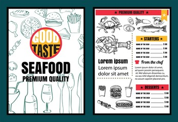 Brochure or poster Restaurant  seafood menu with Chalkboard Back
