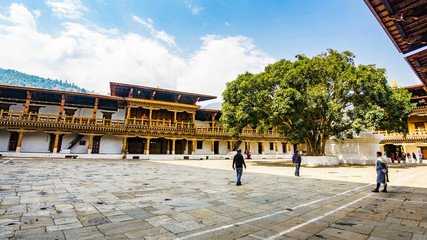Wall Mural - The hardscape plaza with the terrace building background with Bhutan temple in Asia, Punakha,Bhutan
