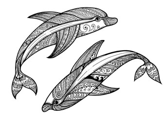 Zentangle vector sea Dolphin Ornamental tribal patterned illustr