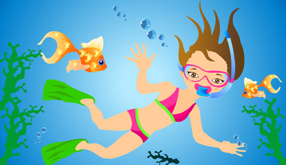 Girl swims with fins
