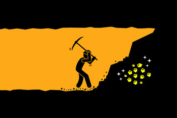 Person worker digging and mining for gold in an underground tunnel. Vector artwork depicts hard work, success, achievement, and discovery. Fototapete