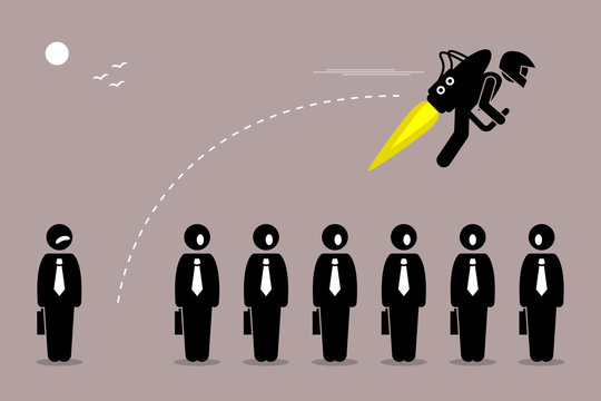 Businessman flying away with a jetpack from his colleague. Vector artwork depicts career breakthrough, development, boost, improvement, and rise.