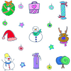 Cute christmas object doodle set