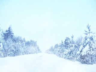 Dreamy and abstract winter landscape. Glitter overlay