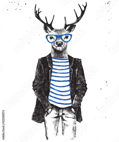 Fototapete Hand drawn dressed up deer in hipster style