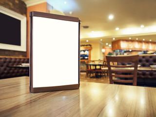 Mock up Menu frame on Table in Bar restaurant cafe Background
