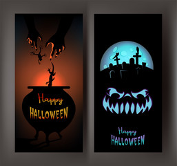 FUNNY BANNERS WITH HALLOWEEN DESIGN OBJECTS