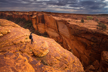 A man travel in Kings canyon of Northern territory of Australia.