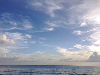 the evening sky over the quiet sea