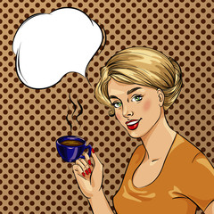 Beautiful woman drinks coffee vector illustration in retro comic pop art style.