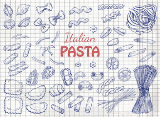 Set of Italian pasta on paper