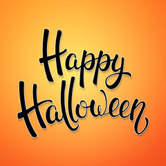 Halloween brush lettering. Black letters on orange gradient background. Decoration for Halloween greeting cards design. Vector illustration.