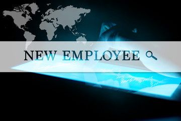 Concept of search new employee. Inscription on the background of