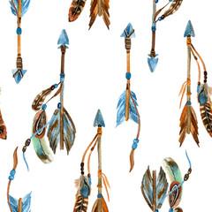 Watercolor tribal arrows seamless pattern.