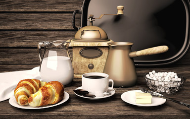 Breakfast with delicious coffee,  croissants, cream and chocolat