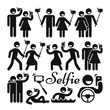 Selfie stick woman and man vector icons set