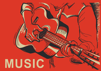 musician playing guitar poster illustration