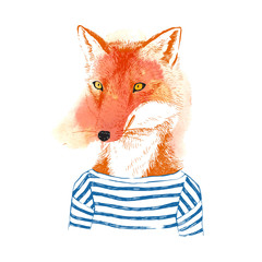 Fototapete - Hand drawn dressed up fox in hipster style