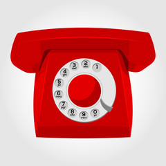 Red old-fashioned phone. Vector Illustration