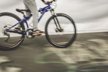 mountainbiker at halfpipe