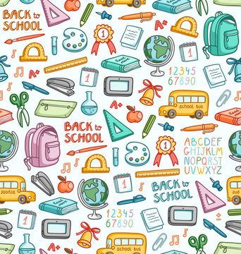 Seamless pattern with set of different school things in color