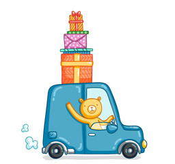 Funny bear in a car with bunch of presents