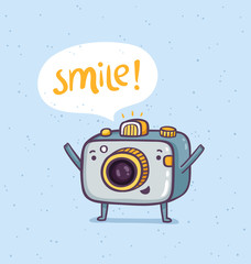 Cute photo camera character