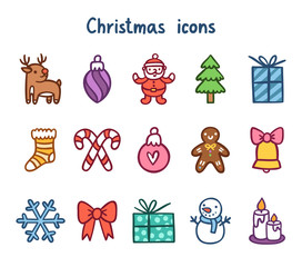 Winter holidays cute vector icons collection