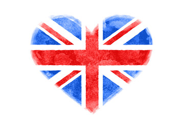 Poster of watercolor heart shape Great Britain flag. Red and blue isolated heart symbol on white background. Watercolor heart with British flag. Vector Illustration
