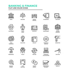 Modern Flat Line Color Icons- Banking and Finance