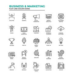 Flat Line Color Icons- Business and Marketing