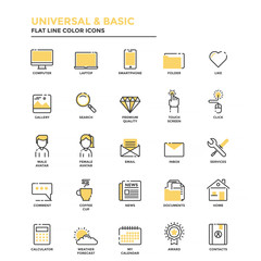 Flat Line Icons- Universal and Basic