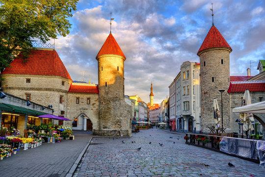 Viru Gate in the old town of Tallinn, Estonia