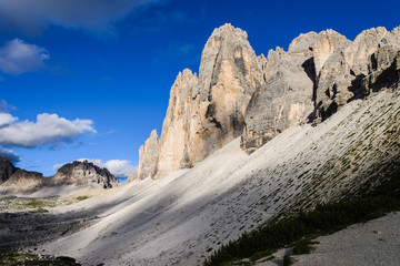 Hiking trail to Tre Cime of the Dolomites, Italy.