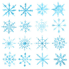 Watercolor snowflakes set on white background. Symbol of winter. Beautiful decoration.