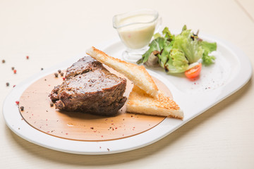 grilled meat with bread