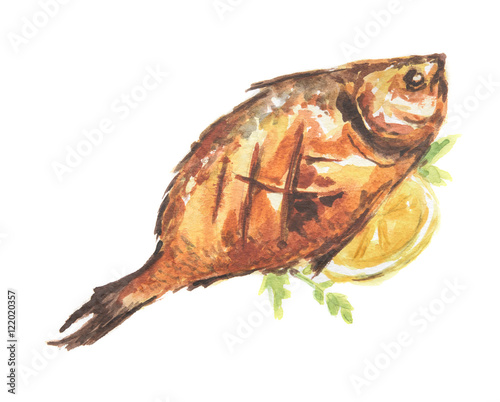 Isolated watercolor baked fish on white background for Healthiest white fish
