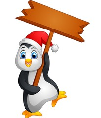 Cute penguin christmas cartoon holding blank sign