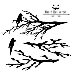 Brunches of scary dead trees silhouette vector halloween decoration set with raven. Brush pen ink illustration for halloween design.