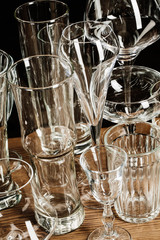 empty glasses - selective focus point and lighting filter