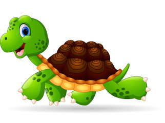 Cute turtle cartoon walking