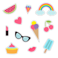 Quirky cartoon sticker patch badge set. Fashion pin collection. Lipstick, heart, rainbow, cloud, cupcake, diamond, ice cream, watermelon, lips, cherry, sunglasses. Dash line contour. Isolated. Flat