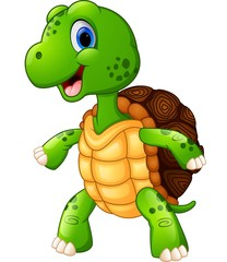 Cute turtle cartoon standing