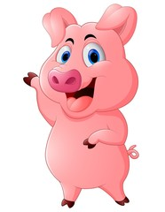 Cartoon happy pig waving