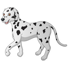 Cartoon illustration of a Dalmatian walking