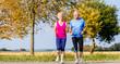Senior Frau und Mann beim Jogging als Fitness Sport in der Natur