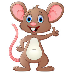 Cute mouse cartoon give thumb up