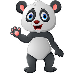 Cute baby panda waving hand