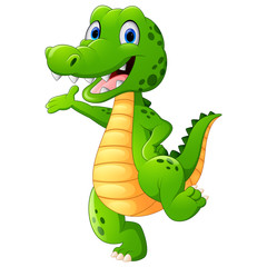 Funny crocodile standing and posing while hand waving