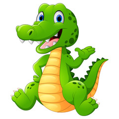 Cute crocodile sitting cartoon